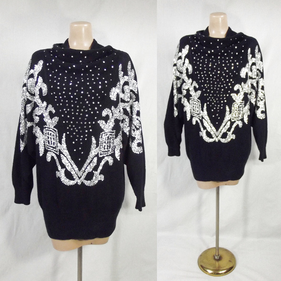 016cd3f4a7 VINTAGE 80s Sequin Embellished Cowl Neck Sweater L.  M 5b89f79cc89e1dab8ef91404